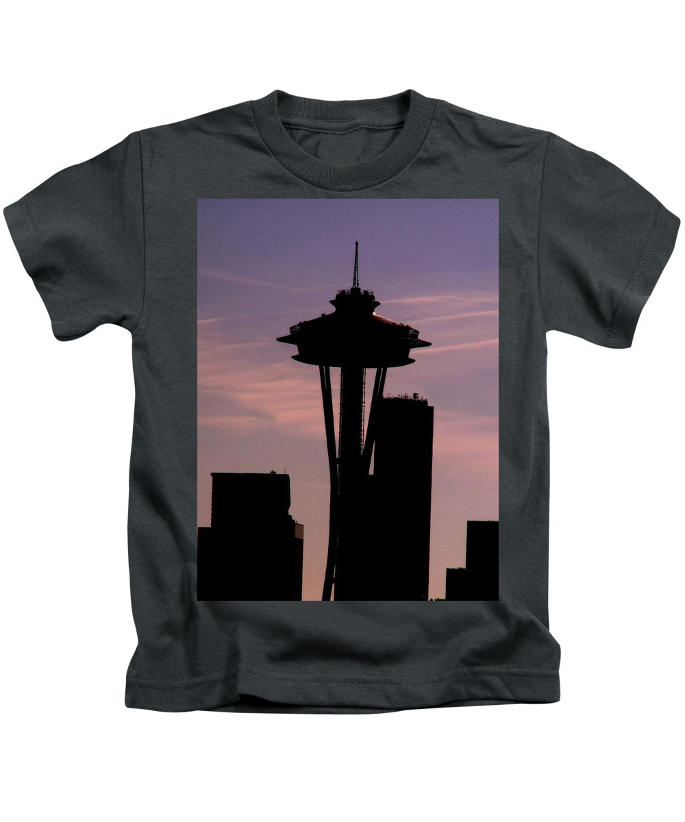 Seattle Kids T-Shirt featuring the digital art City Needle by Tim Allen