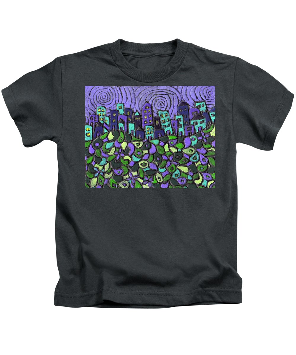 Purple Kids T-Shirt featuring the painting City Of Passion by Wayne Potrafka
