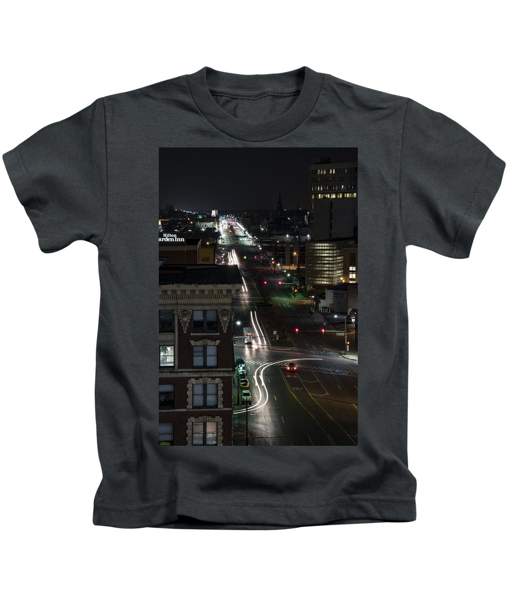Downtown Detroit Kids T-Shirt featuring the photograph City Trails by Amber Yaksich
