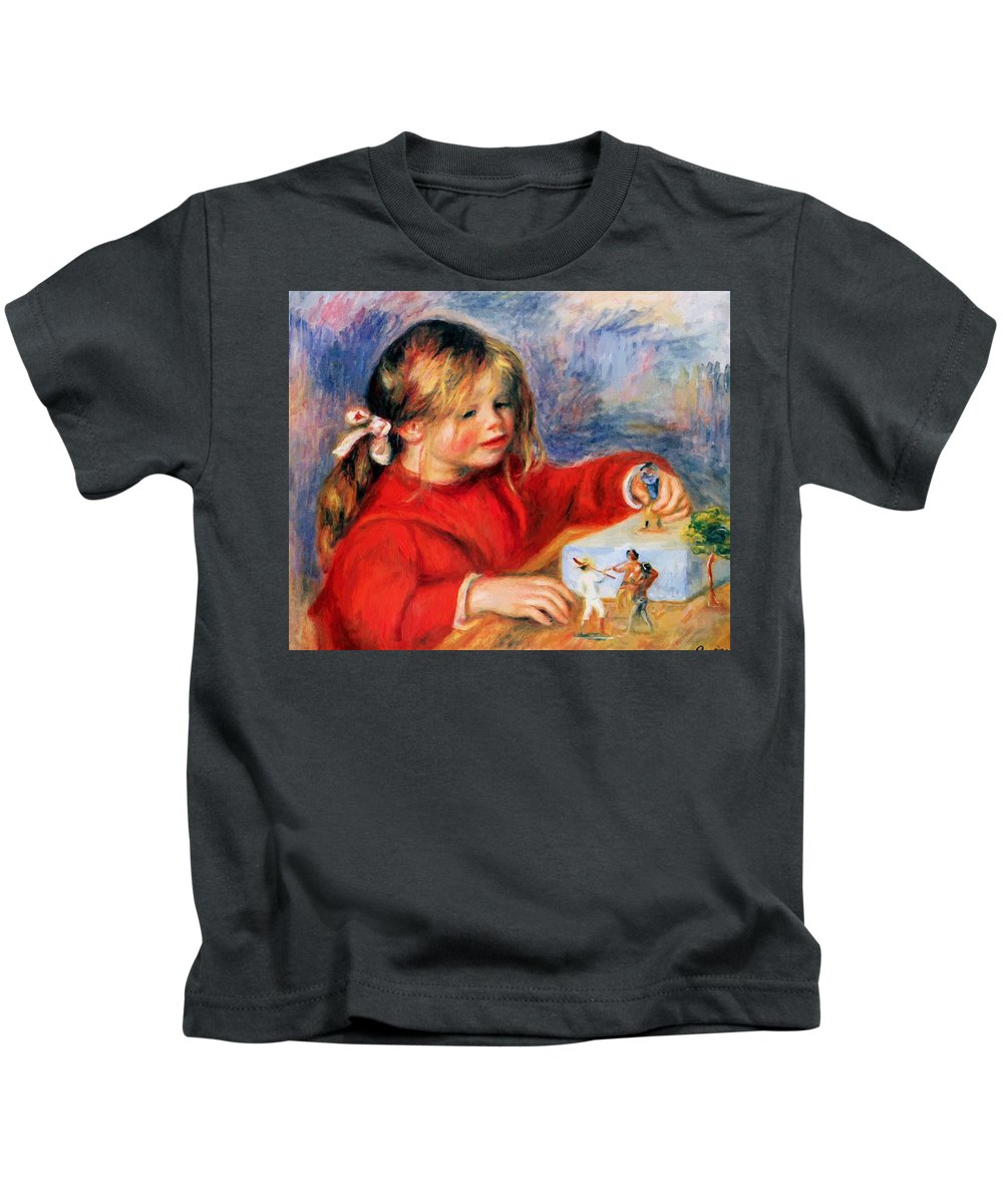 Claude Kids T-Shirt featuring the painting Claude Renoir At Play Sun 1905 by Renoir PierreAuguste