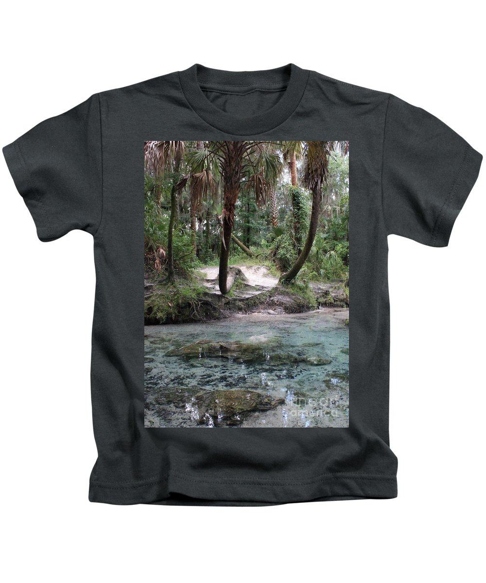 Lithia Springs Kids T-Shirt featuring the photograph Clear Water And Palms by Carol Groenen