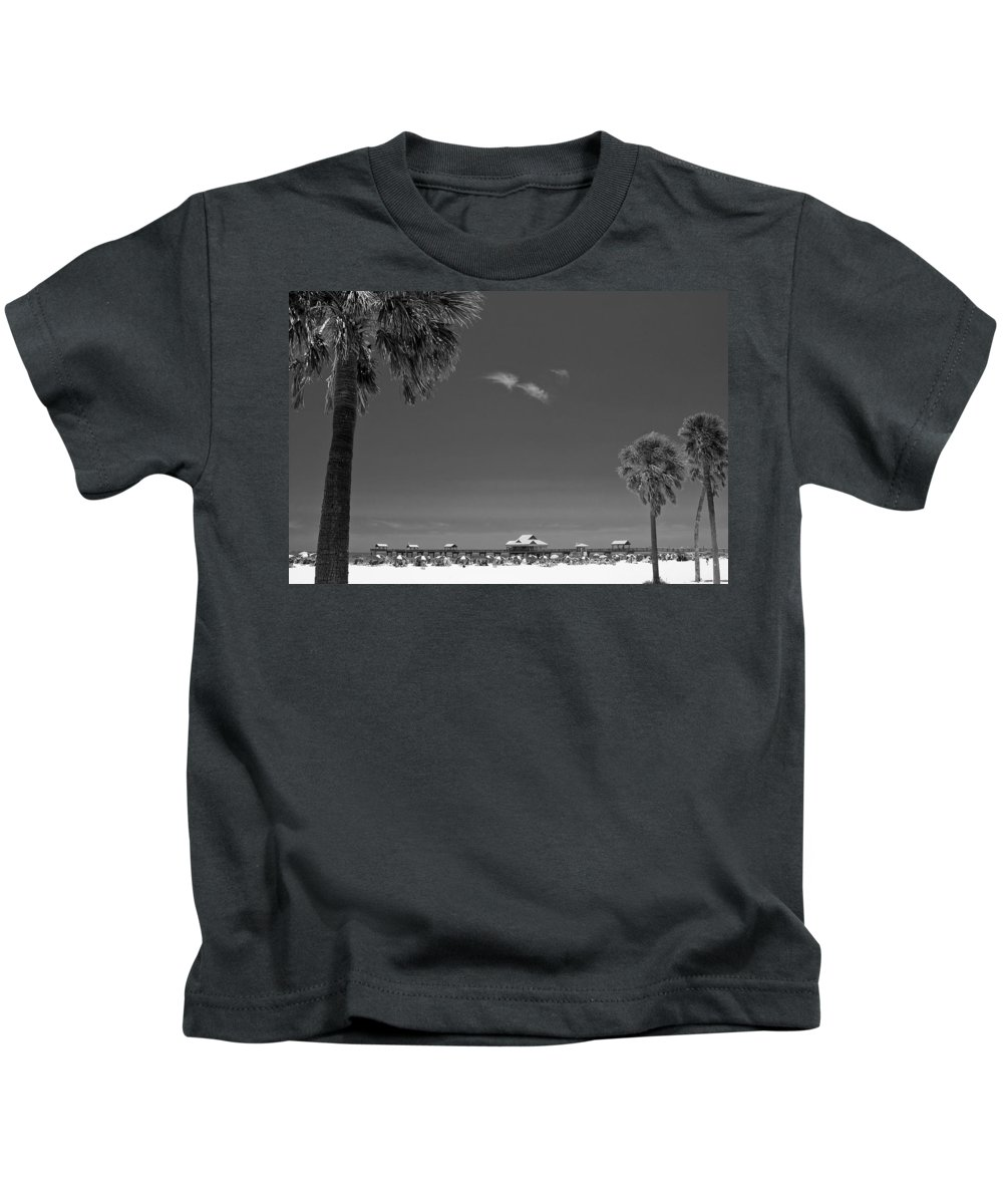 3scape Kids T-Shirt featuring the photograph Clearwater Beach Bw by Adam Romanowicz