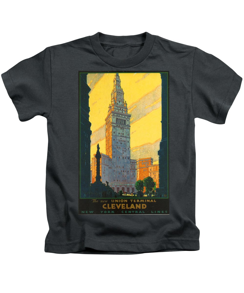 Cleveland Kids T-Shirt featuring the digital art Cleveland - Vintage Travel by Georgia Fowler