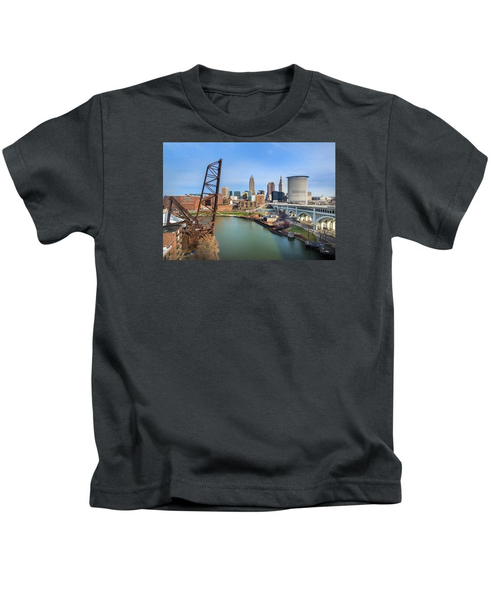 Cleveland Kids T-Shirt featuring the photograph Cleveland Skyline #2 by Bill Berris
