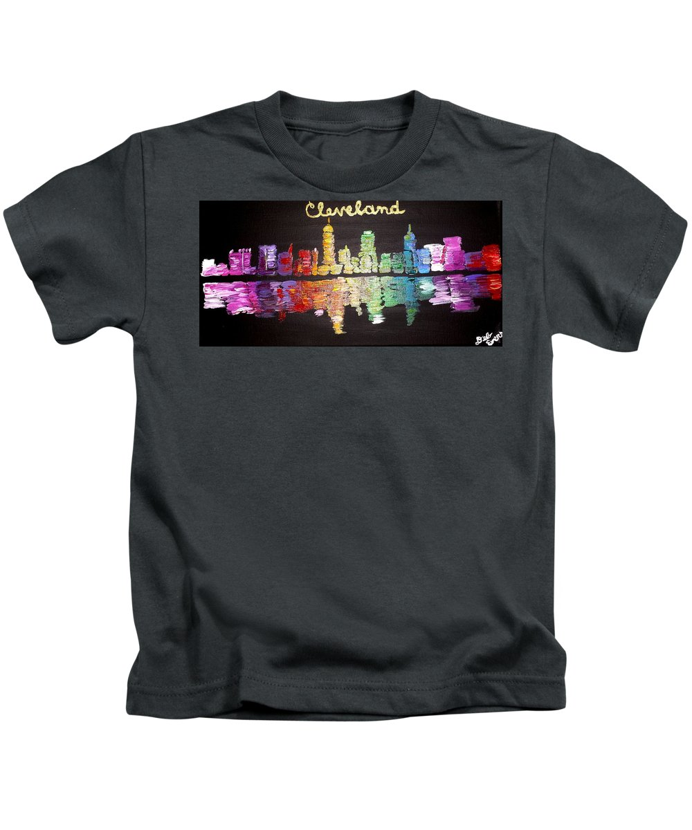 Landscape City Cleveland Skyline Buildings Downtown Lake Erie Water Reflection Black Rainbow Ohio Kids T-Shirt featuring the painting Cleveland Skyline by Deborah Evers