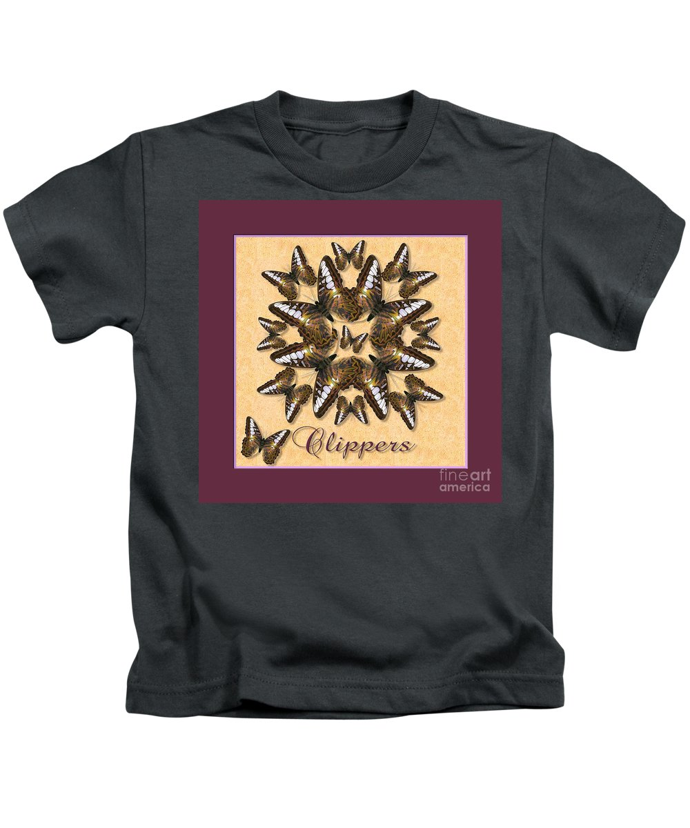 Butterfly Kids T-Shirt featuring the photograph Clipper Butterfly Pin Wheel by Melissa A Benson