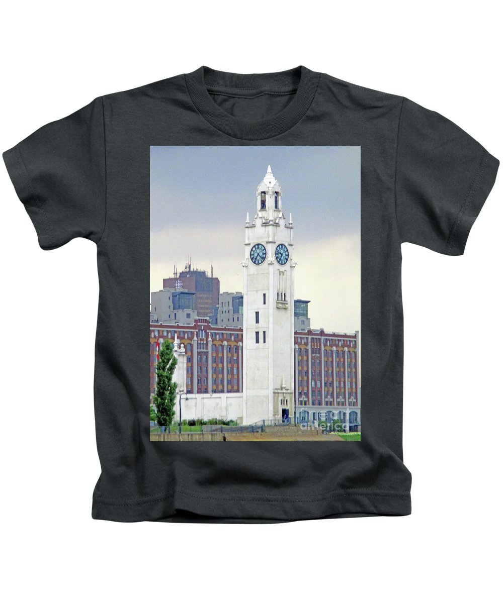 Montreal Kids T-Shirt featuring the photograph Clock Tower Montreal 2 by Randall Weidner