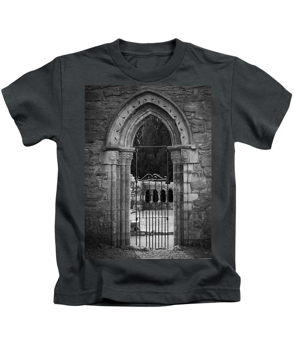 Irish Kids T-Shirt featuring the photograph Cloister View Cong Abbey Cong Ireland by Teresa Mucha