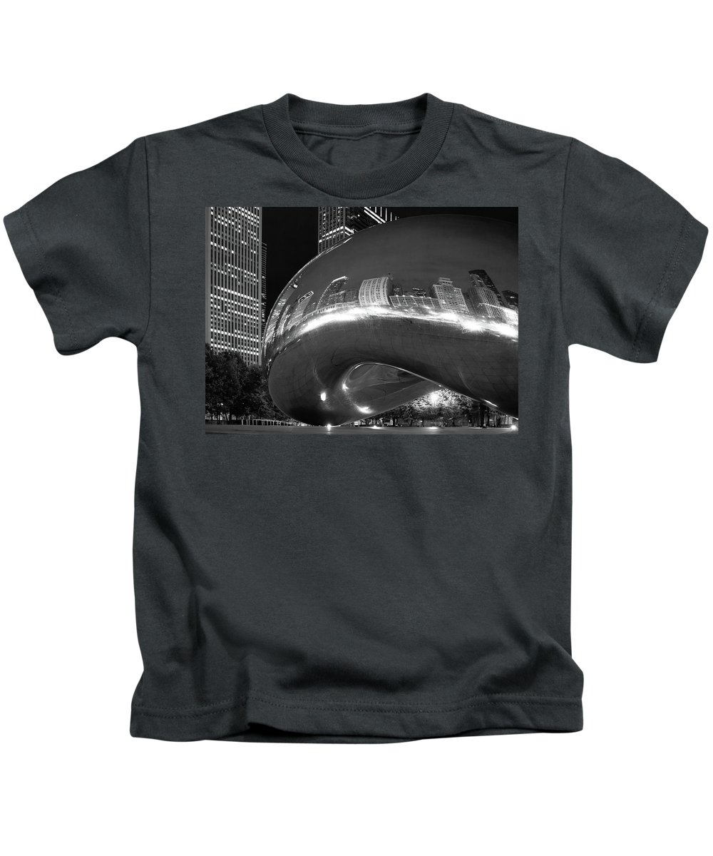 Chicago Kids T-Shirt featuring the photograph Cloud Gate Black N White by Kathy Mannikko