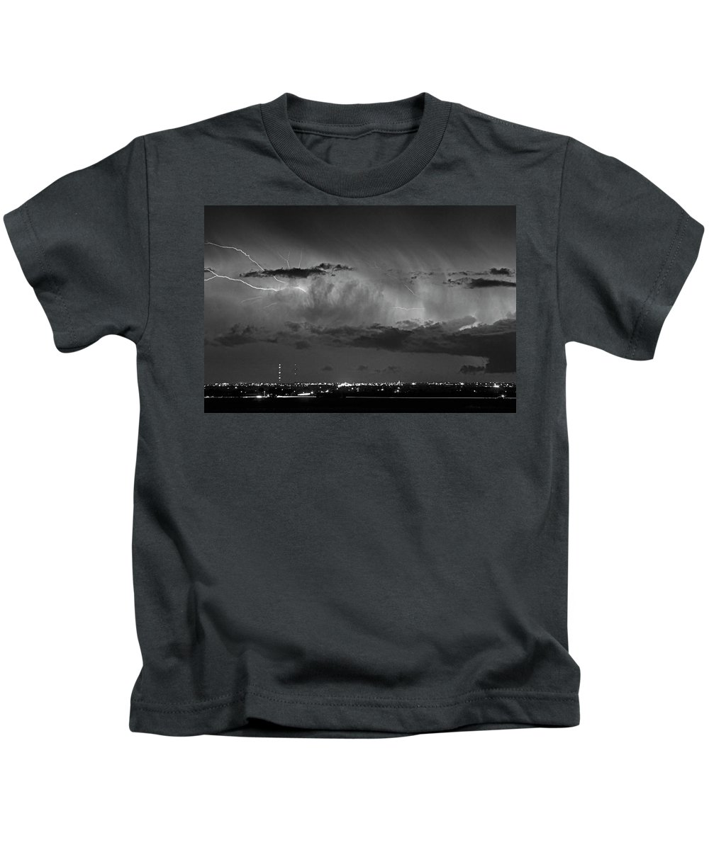 Bouldercounty Kids T-Shirt featuring the photograph Cloud To Cloud Lightning Boulder County Colorado Bw by James BO Insogna