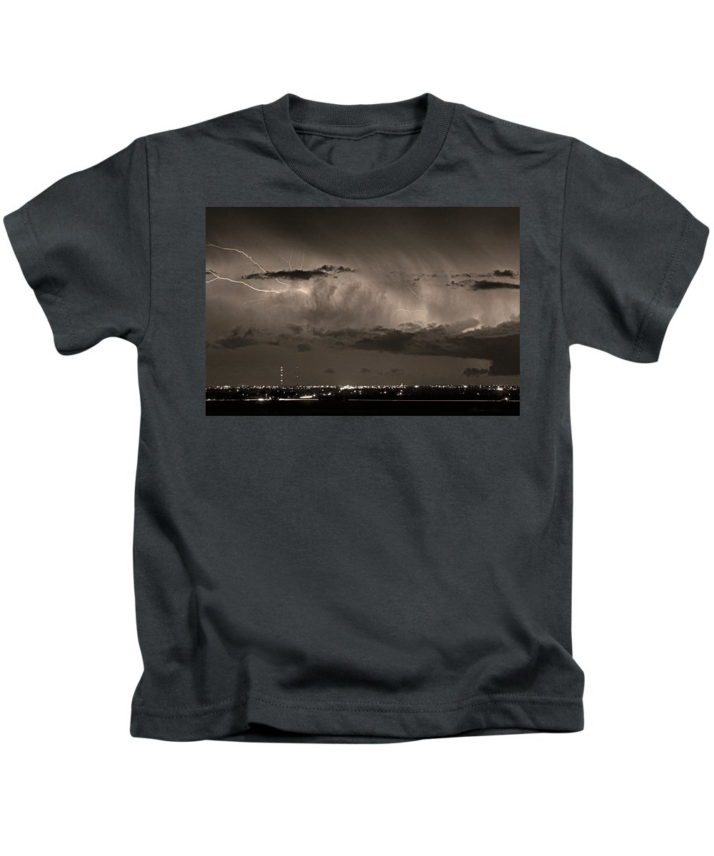 Bouldercounty Kids T-Shirt featuring the photograph Cloud To Cloud Lightning Boulder County Colorado Bw Sepia by James BO Insogna