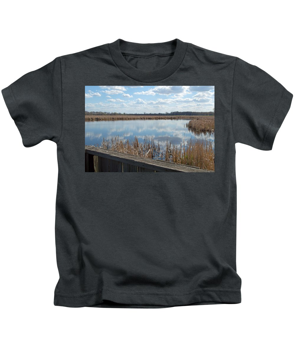 Wetland Kids T-Shirt featuring the photograph Clouds In The Water by Linda Kerkau