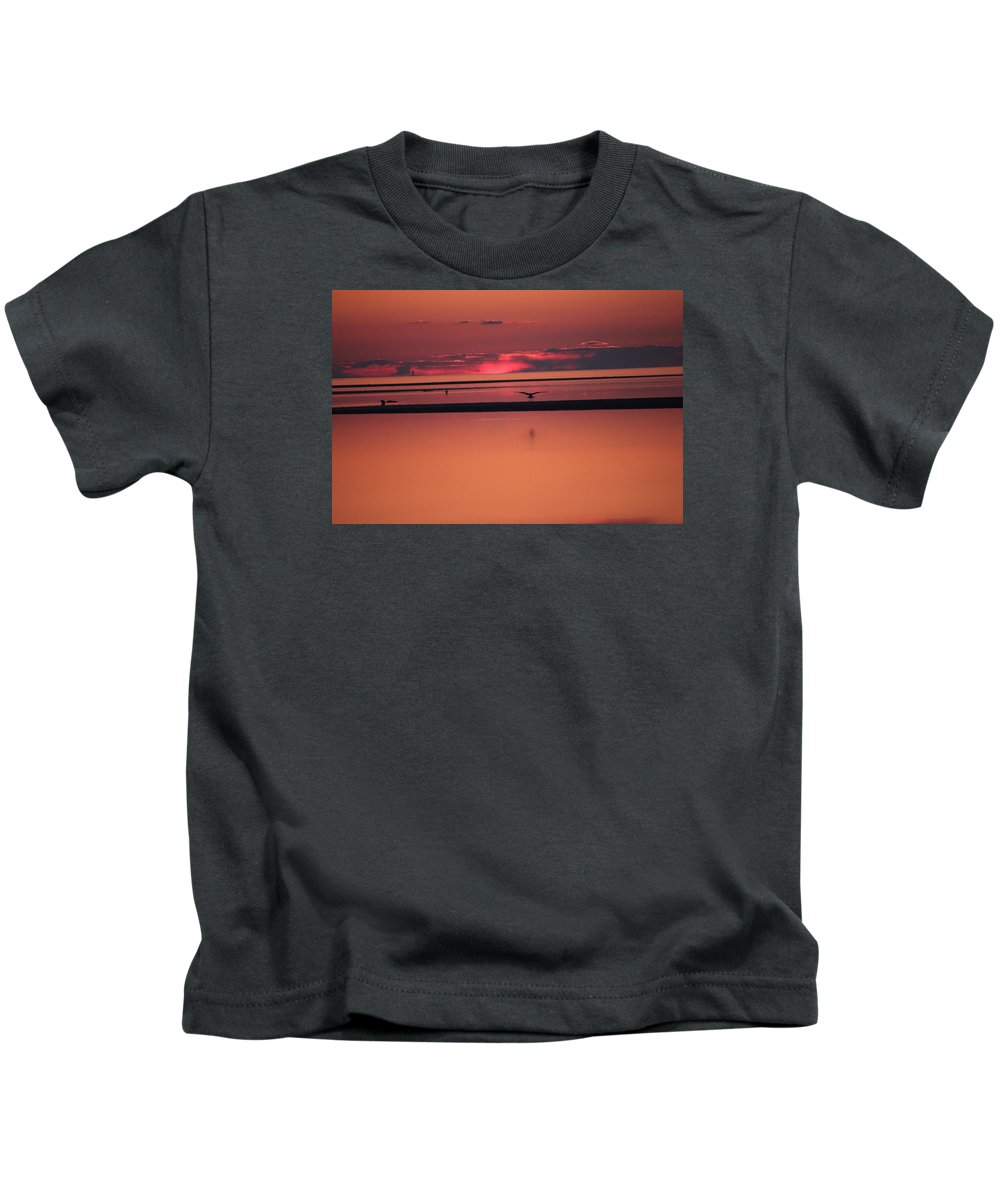 Sunset Kids T-Shirt featuring the photograph Clouds On Fire by Emily Sosa
