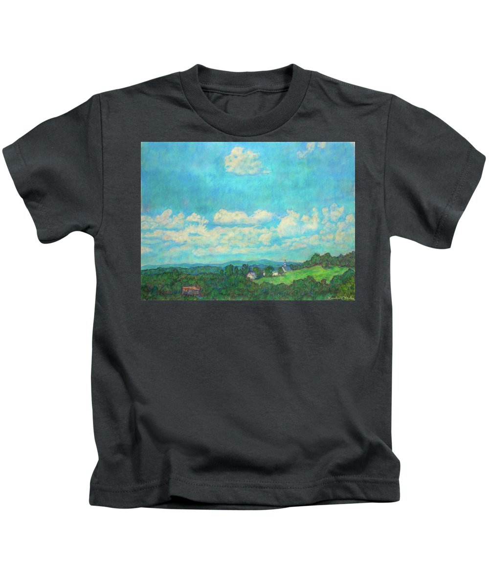 Landscape Kids T-Shirt featuring the painting Clouds Over Fairlawn by Kendall Kessler