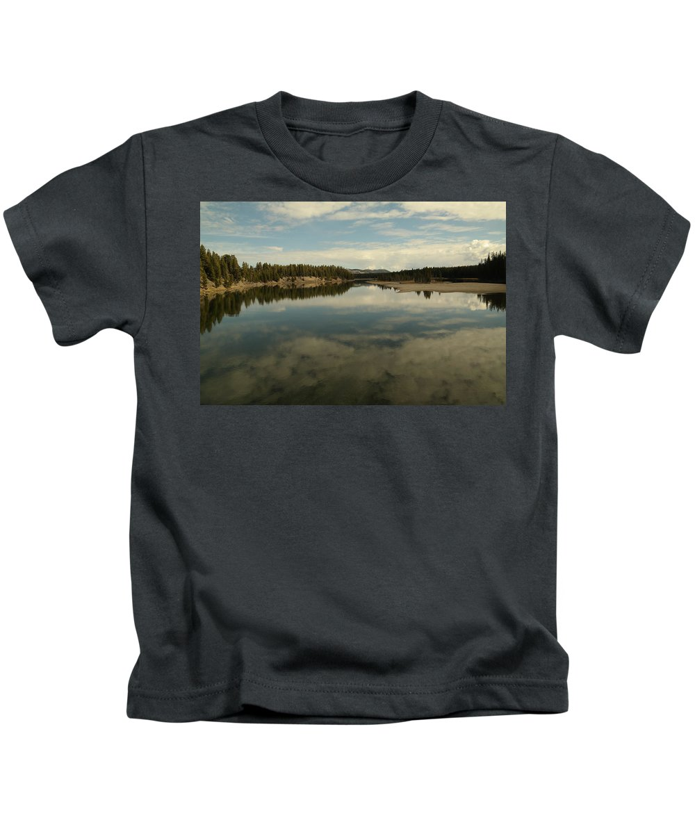 Water Kids T-Shirt featuring the photograph Clouds Reflecting In An Alpine Lake. by Jeff Swan