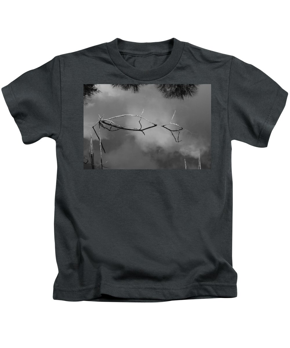 Black And White Kids T-Shirt featuring the photograph Cloudy Bridge by Rob Hans