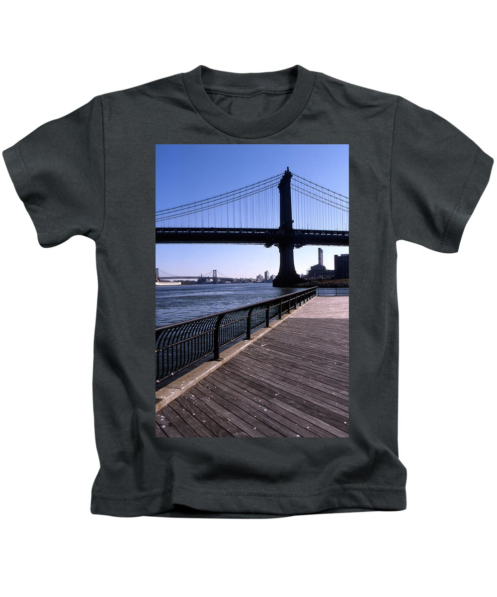 Landscape Manhattan Bridge New York City Kids T-Shirt featuring the photograph Cnrg0402 by Henry Butz