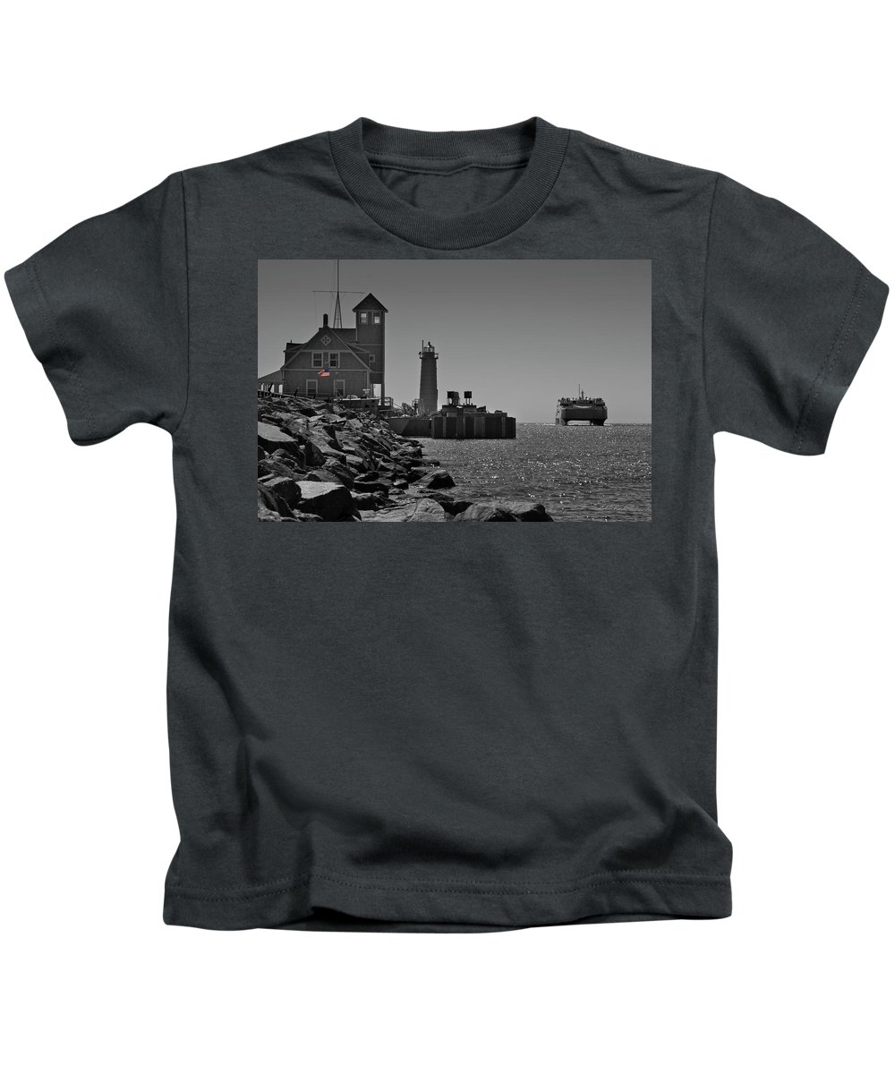 Photography Kids T-Shirt featuring the photograph Coast Guard Station by Frederic A Reinecke