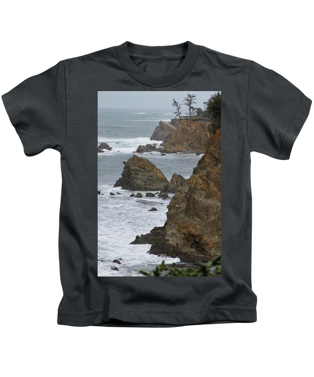 Rock Kids T-Shirt featuring the photograph Coastal Storm by Laddie Halupa