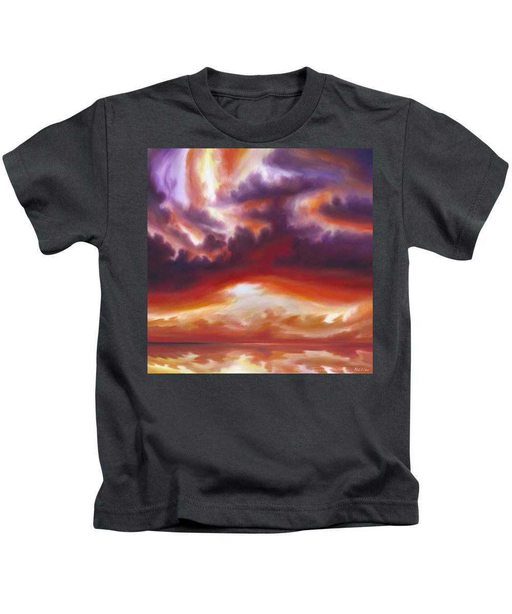 Skyscape Kids T-Shirt featuring the painting Coastline by James Christopher Hill