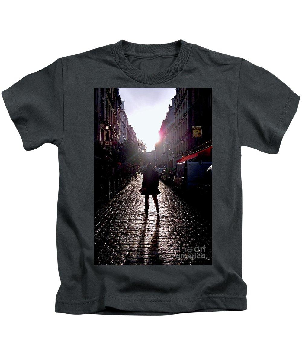 Paris Kids T-Shirt featuring the photograph Cobblestone Path Home Paris by Felipe Adan Lerma