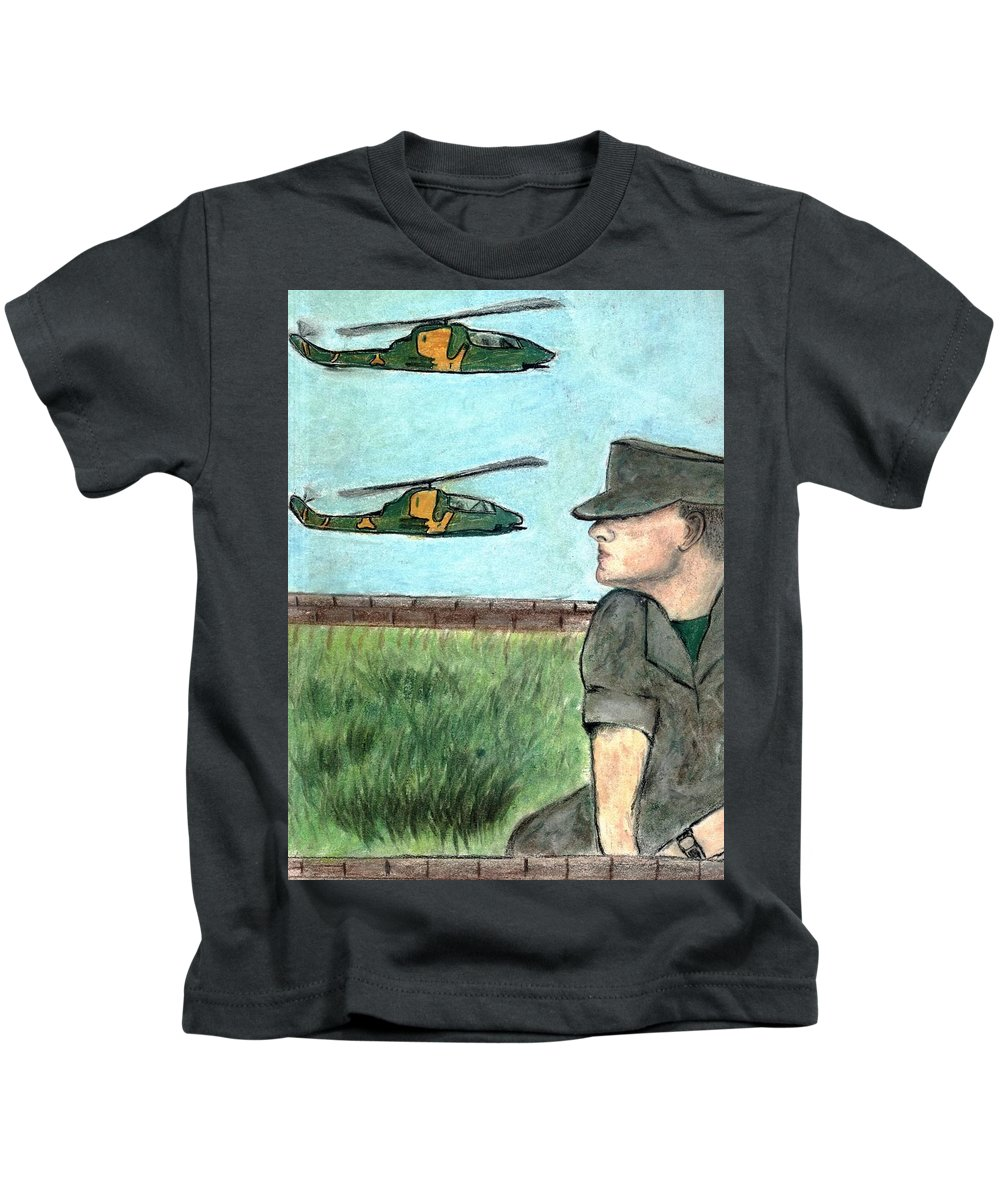 Marine Kids T-Shirt featuring the drawing Cobra by Melvin Moon