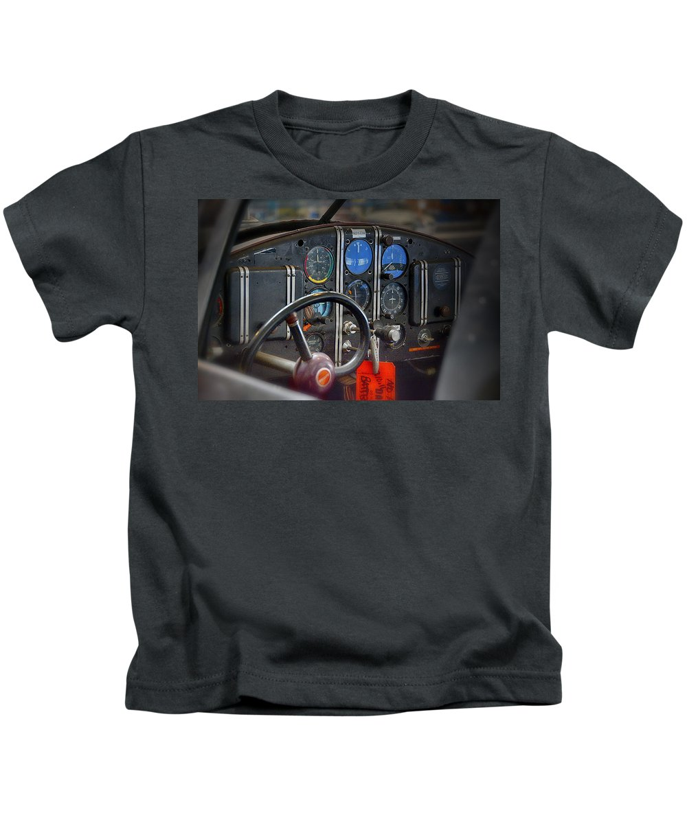 Aviation Museum Kids T-Shirt featuring the photograph Cockpit by Laura Macky