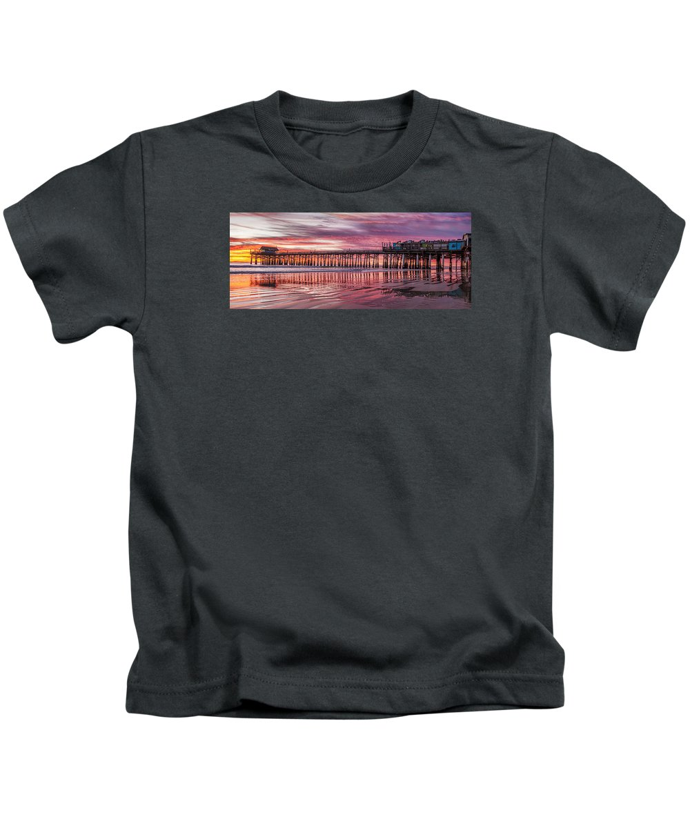 Cocoa Pier Kids T-Shirt featuring the photograph Cocoa Pier Sunrise by James McGinley
