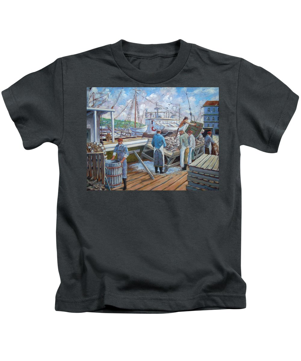 Cod Kids T-Shirt featuring the painting Cod Memories by Richard T Pranke