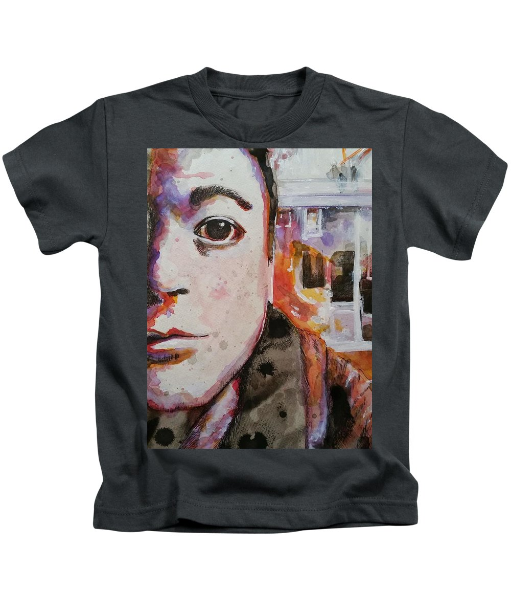 Portrait Kids T-Shirt featuring the painting Coffee Shop Sitting by Marie Casteel