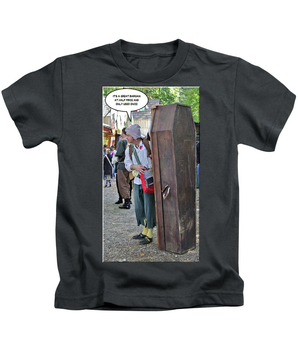2d Kids T-Shirt featuring the photograph Coffin For Sale by Brian Wallace