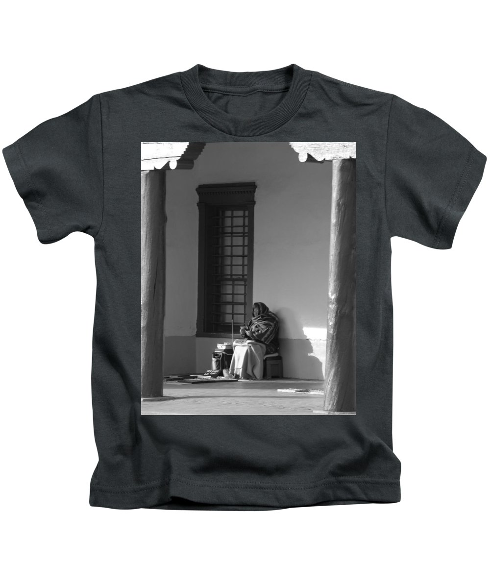 Southwestern Kids T-Shirt featuring the photograph Cold Native American Woman by Rob Hans