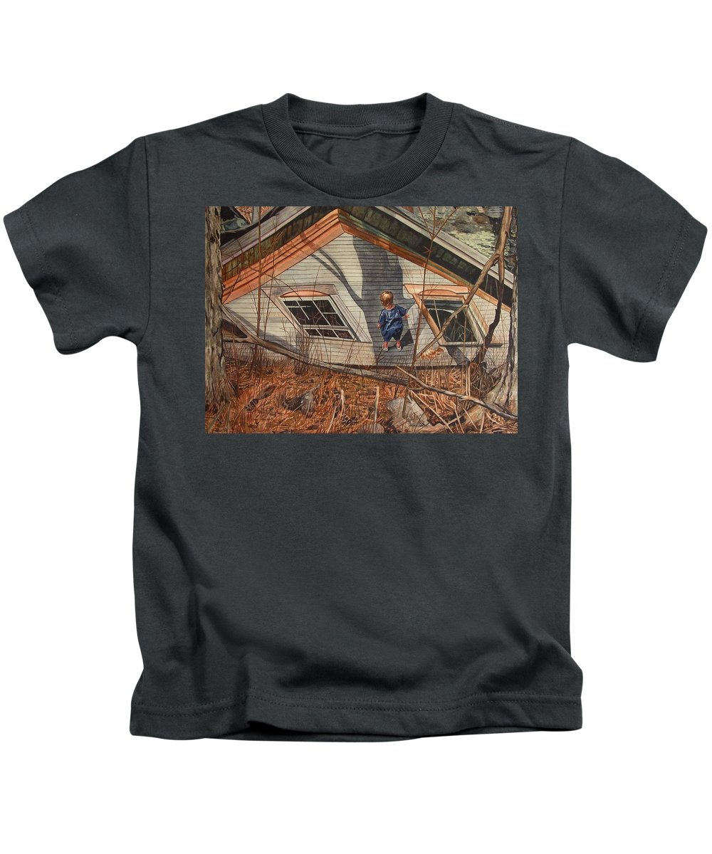 Children Kids T-Shirt featuring the painting Collapsed by Valerie Patterson