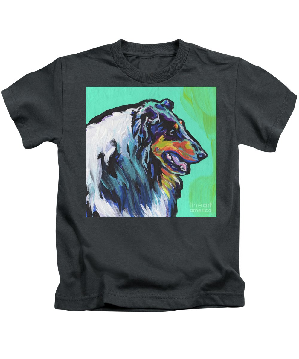 Rough Collie Kids T-Shirt featuring the painting Collie Collie by Lea