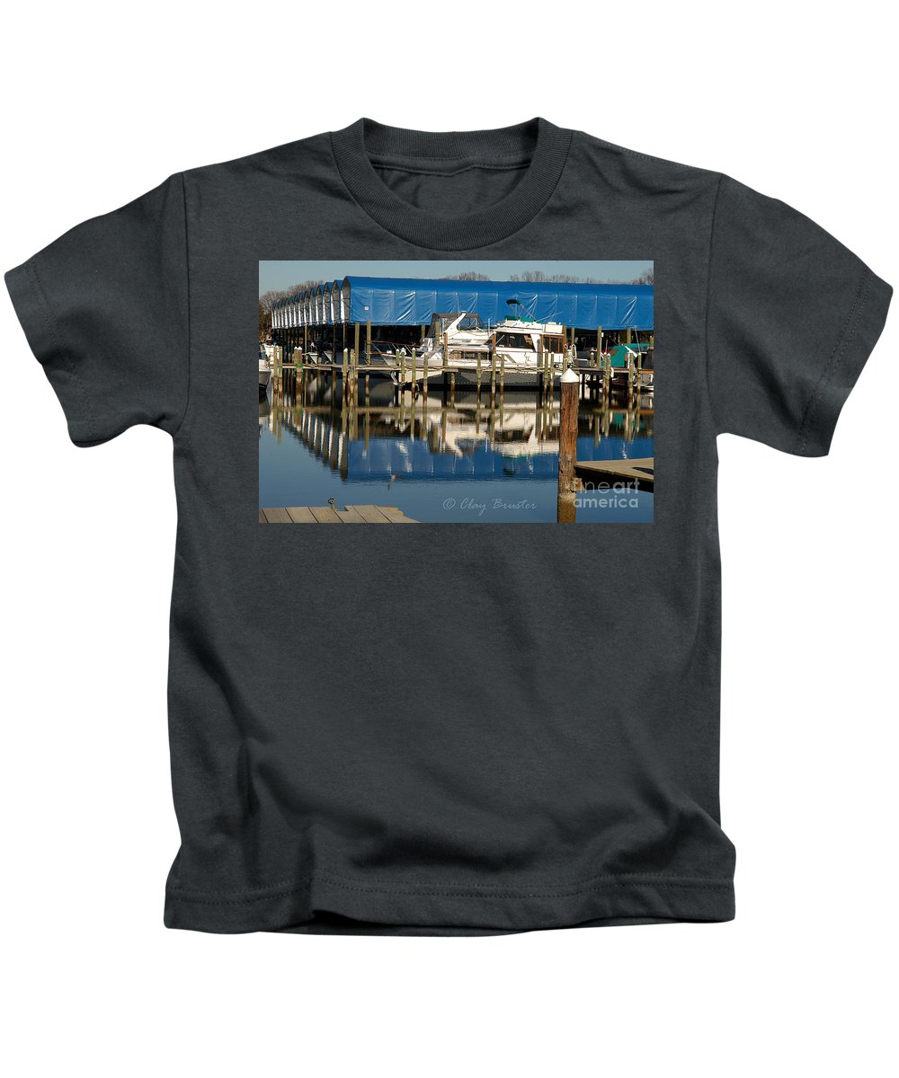 Clay Kids T-Shirt featuring the photograph Colonial Beach Marina by Clayton Bruster