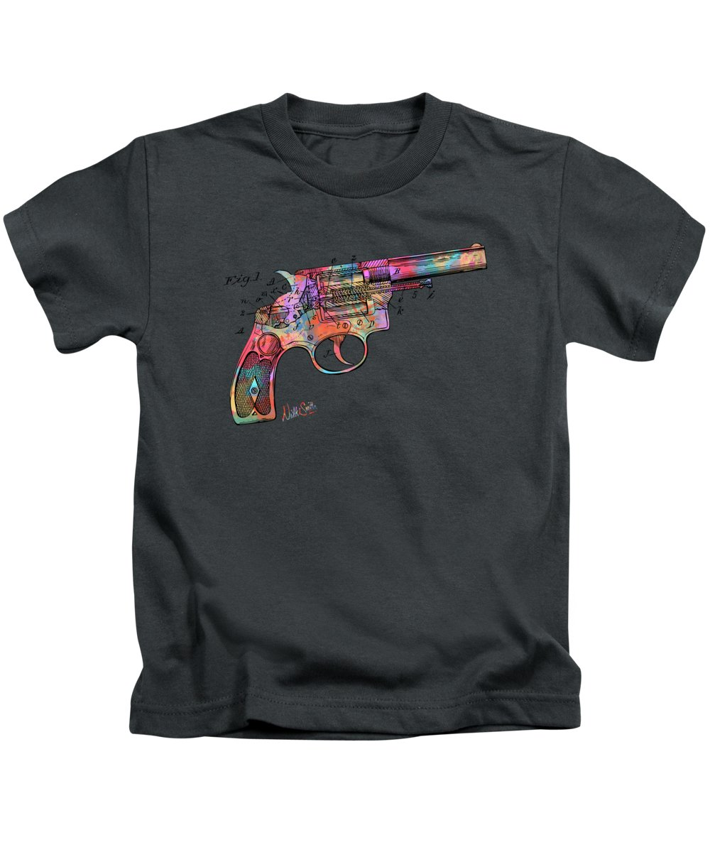 Wesson Kids T-Shirt featuring the digital art Colorful 1896 Wesson Revolver Patent by Nikki Marie Smith