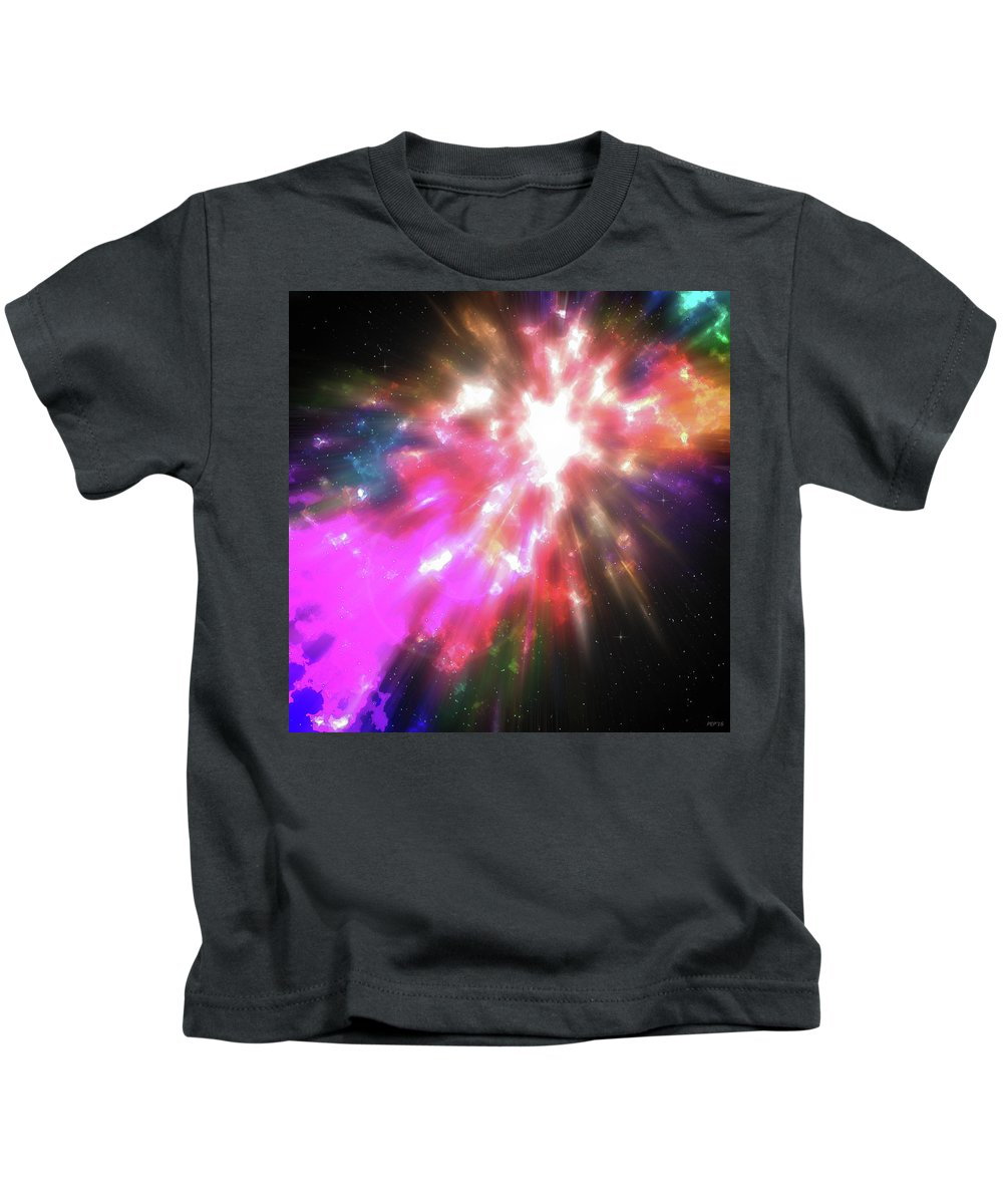 Cosmos Kids T-Shirt featuring the digital art Colorful Cosmos by Phil Perkins