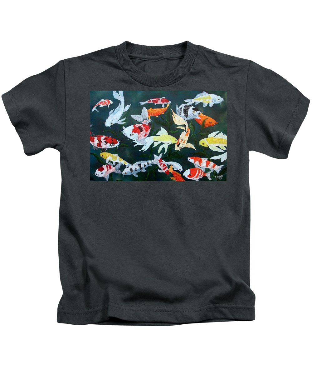 Fish Kids T-Shirt featuring the painting Colorful Koi by Debbie LaFrance