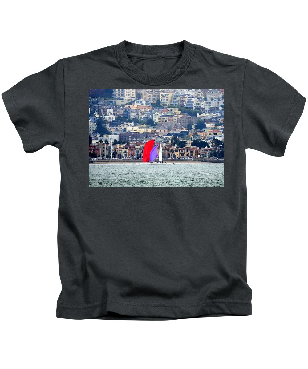 Sailing Kids T-Shirt featuring the mixed media Colorful Sails by Douglas Coiner