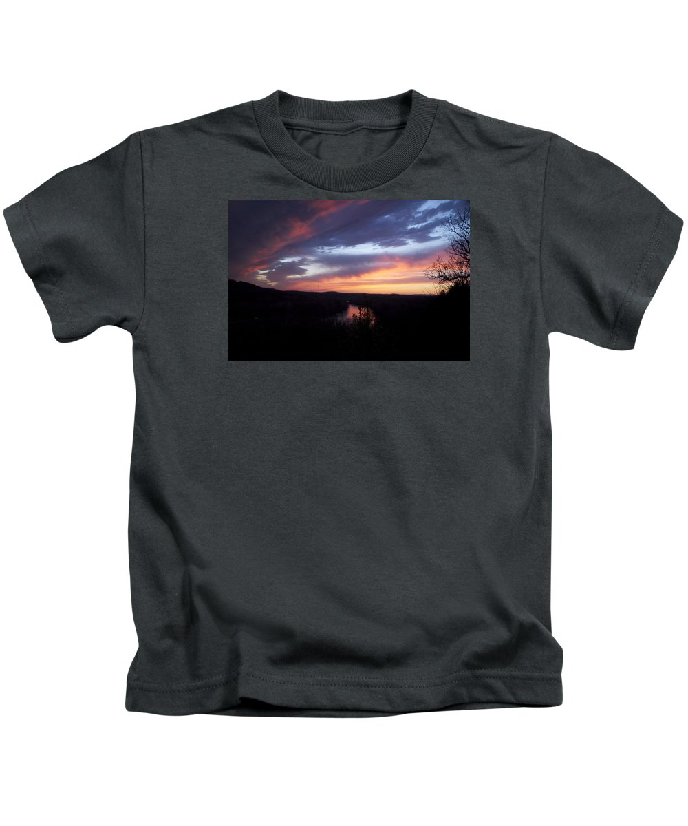 Blue Sunset Kids T-Shirt featuring the photograph Colorful Sunset by Toni Berry