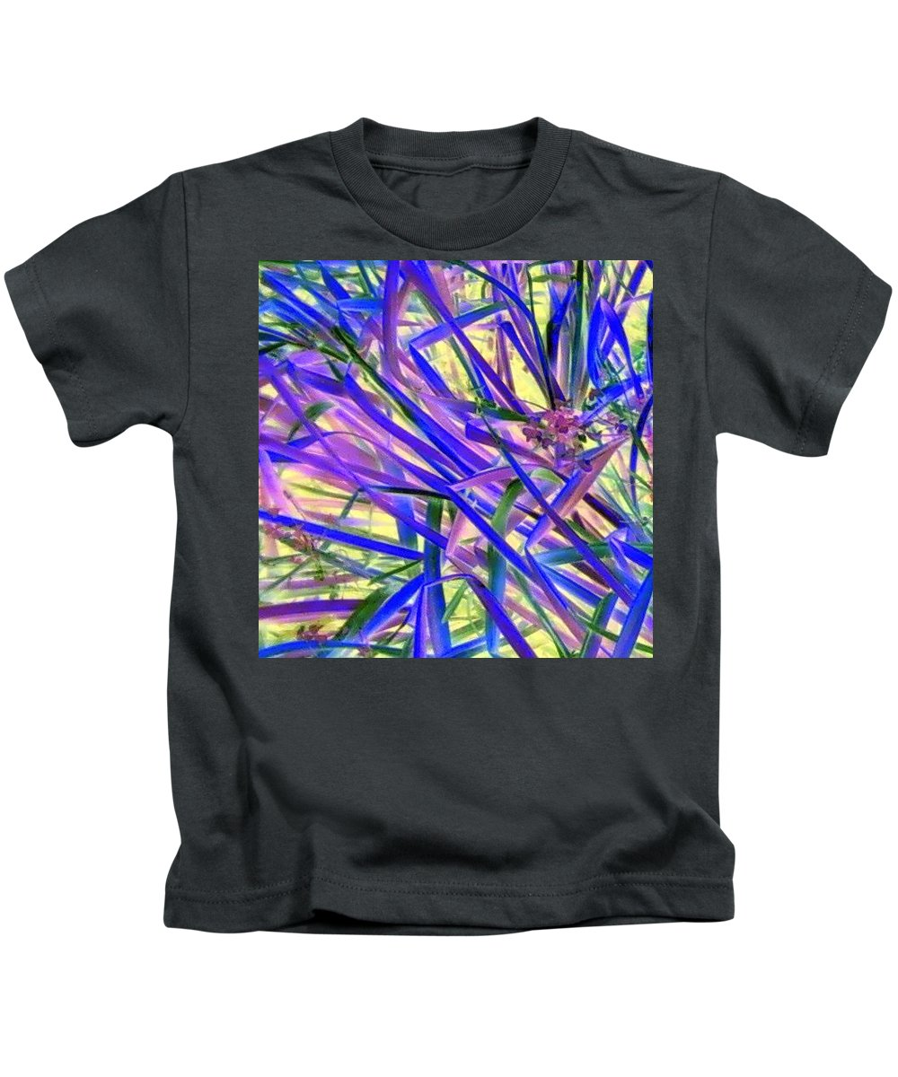 Blue Green Purple Negative Kids T-Shirt featuring the photograph Colors by Cindy New