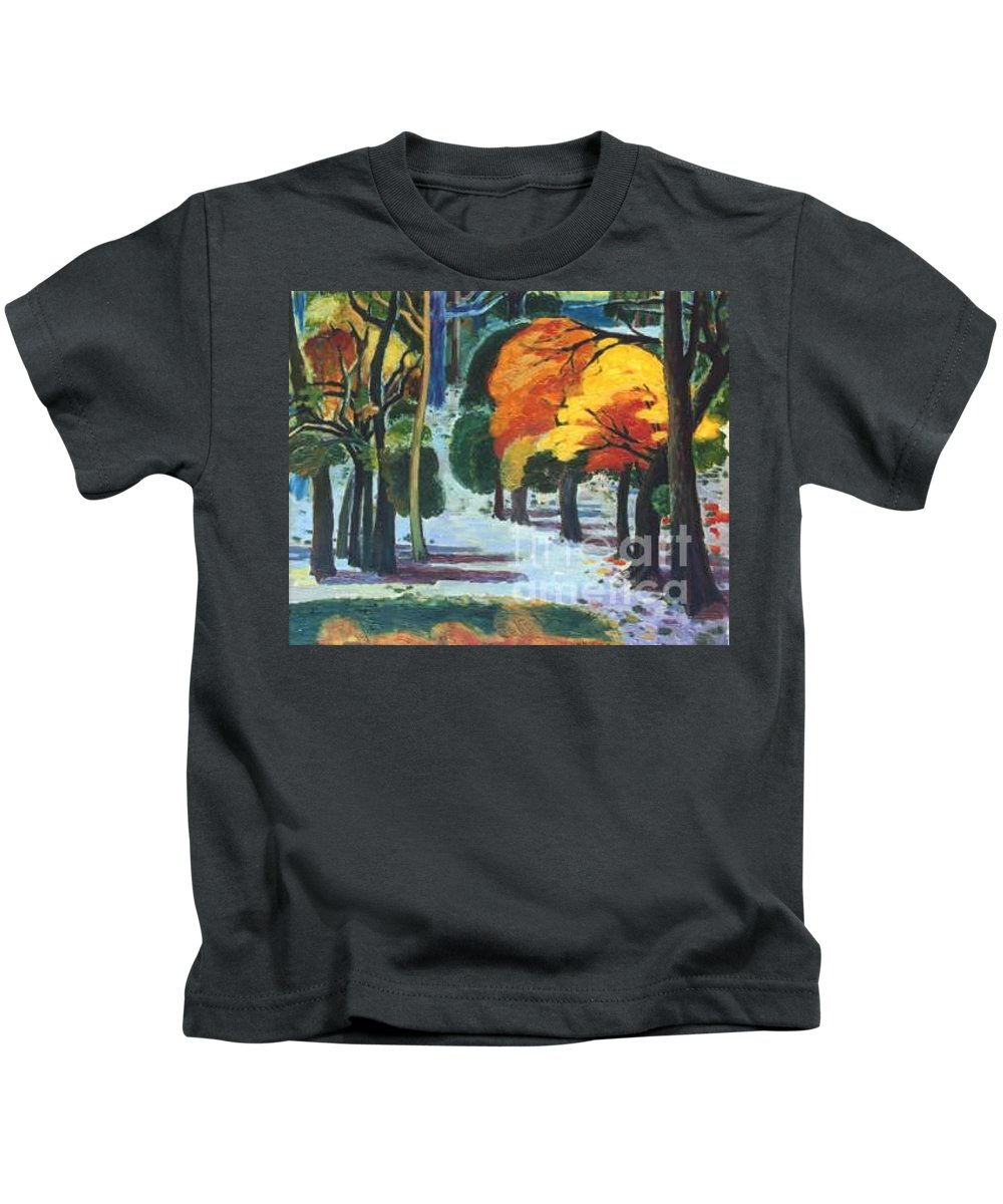 Colors Kids T-Shirt featuring the painting Colors Of Fall by Meihua Lu