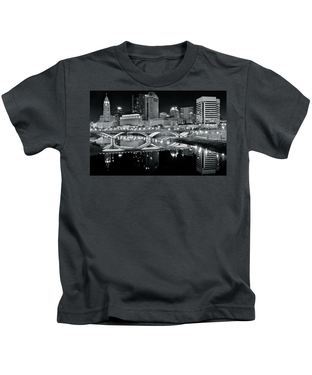 Columbus Kids T-Shirt featuring the photograph Columbus Ohio Black And White by Frozen in Time Fine Art Photography