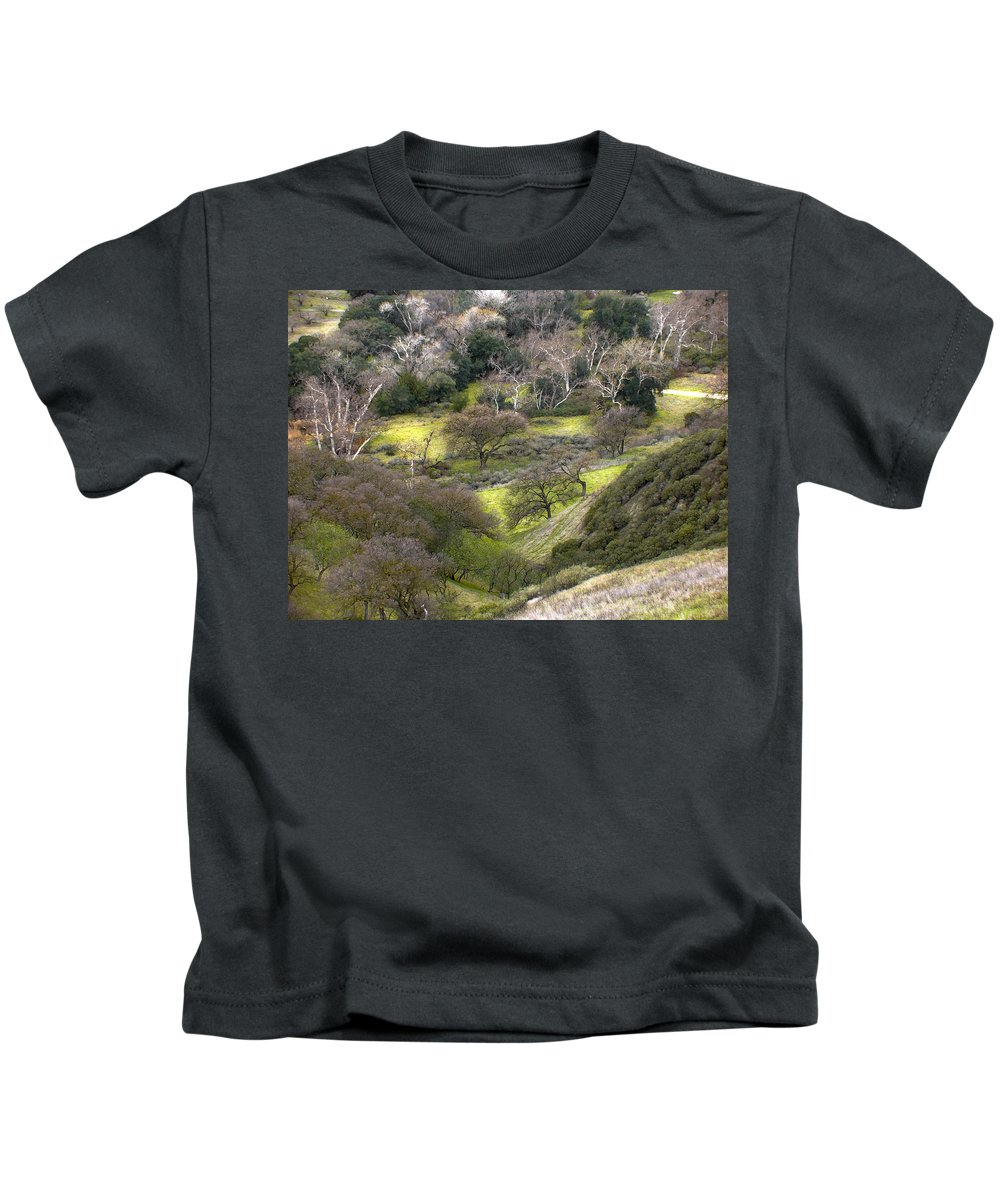 Landscapes Kids T-Shirt featuring the photograph Coming Down The Hill by Karen W Meyer