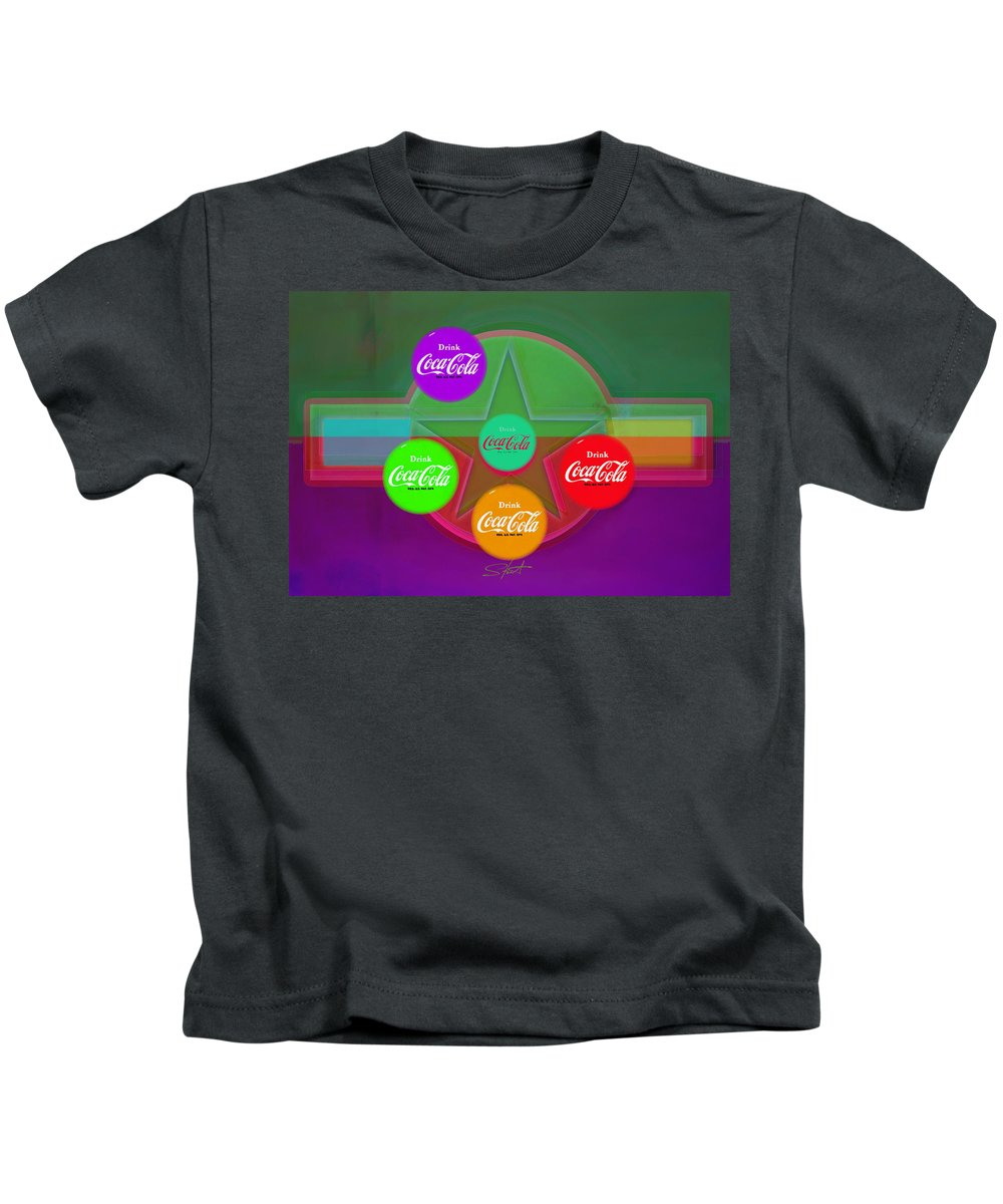 Insignia Kids T-Shirt featuring the digital art Coming To Red RED by Charles Stuart