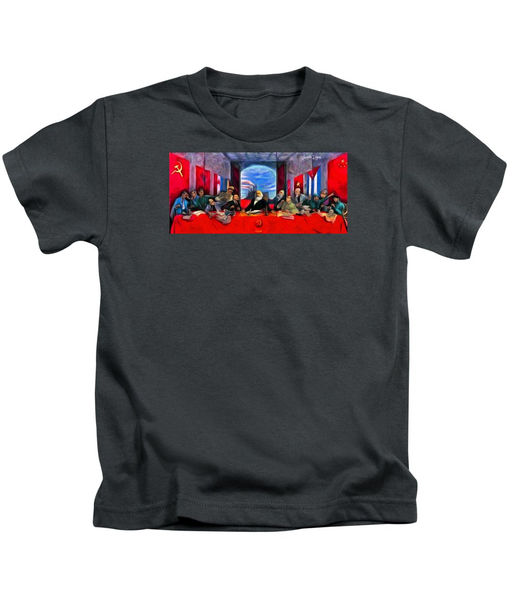 Communist Last Supper Kids T-Shirt featuring the painting Communist Last Supper by Leonardo Digenio