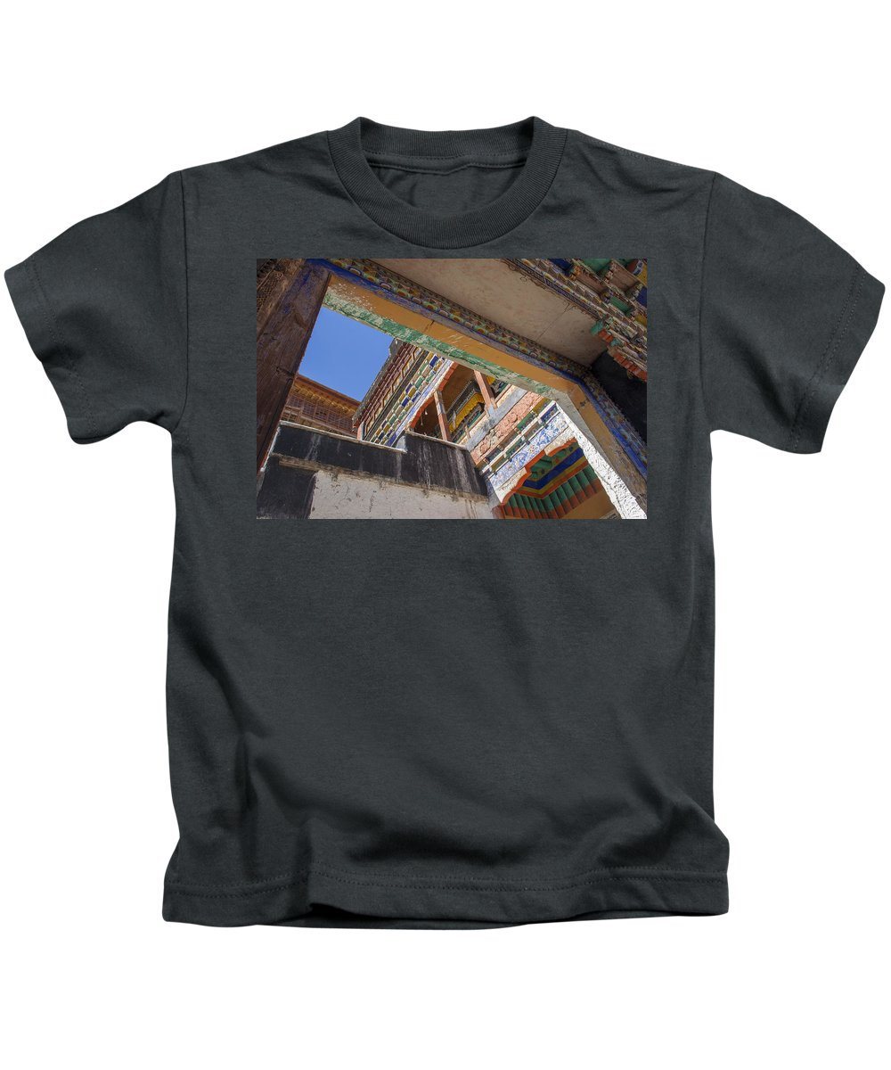 Thiksey Kids T-Shirt featuring the photograph Composition 1, Thiksey, 2005 by Hitendra SINKAR