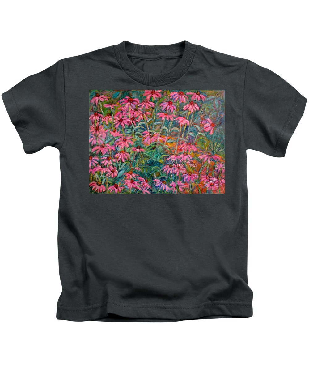 Kendall Kessler Kids T-Shirt featuring the painting Coneflowers by Kendall Kessler