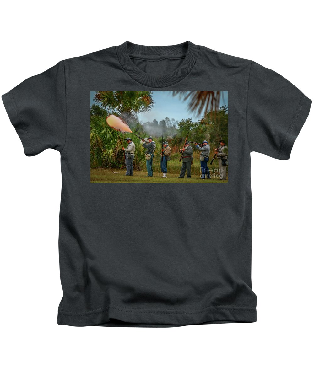 Confederate Kids T-Shirt featuring the photograph Confederate Rifle Fire by Tom Claud
