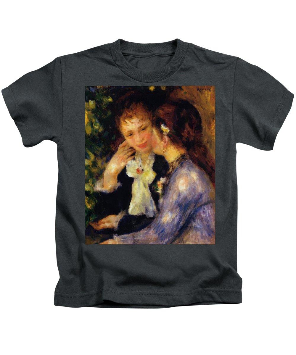 Confidences Kids T-Shirt featuring the painting Confidences 1878 by Renoir PierreAuguste